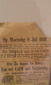 Krant uit 1891  ingelijst