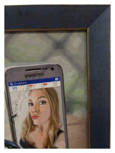 portret schilderij inlijsten detail2