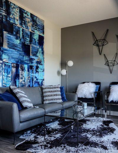 stylingadvies interieur inlijsting blauw schilderij